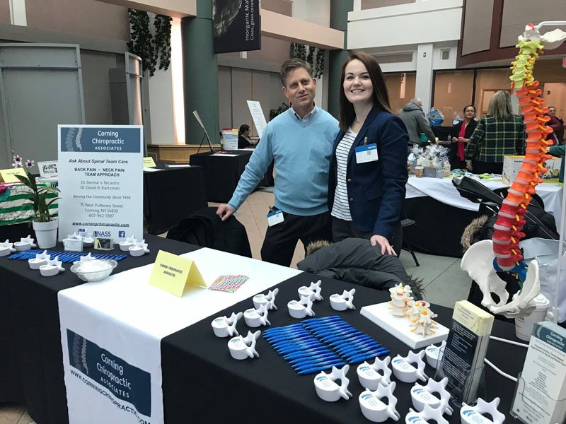 Corning Chiropractic Associates shares at a community health fair