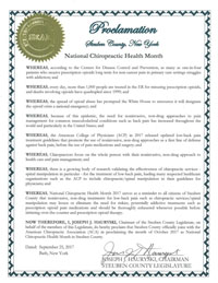 National Chiropractic Health Month Proclamation